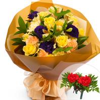 카네이션노랑혼합꽃다발+코사지2개