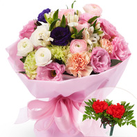 카네이션핑크혼합꽃다발+코사지2개