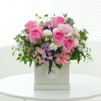 핑크장미꽃바구니