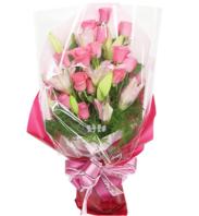 핑크장미백합 꽃다발